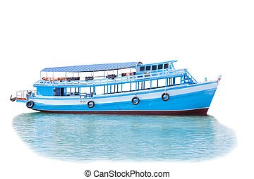 passenger wooden boat in tourist business in thailand floating o