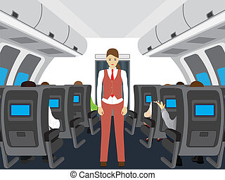 Passengers and stewardess on the plane.