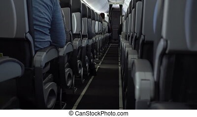 Passengers in comfortable seats of aircraft