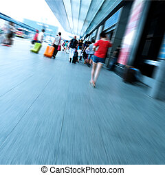 Passengers in the Airport - passenger at the airport, motion...