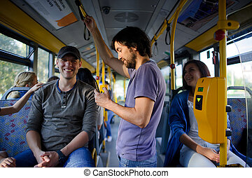 Passengers in the city bus.