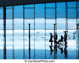 Passengers in the interior of the airport - Passengers and...