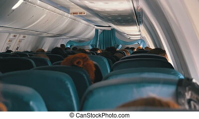 Passengers Inside the Cabin of Passenger Aircraft Sitting on the Chairs During the Flight