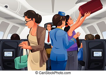 A vector illustration of passengers lifting their carry-on luggage into the cabin