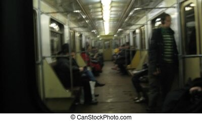 Passengers travel inside Metro train - MOSCOW - DEC 26:...