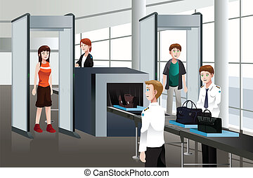 Passengers walking through security check - A vector ...
