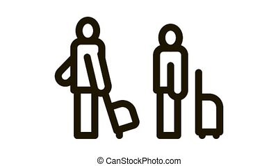 Passengers With Baggage Icon Animation. black Passengers With Luggage Standing In Airport Or Railway Station animated icon on white background