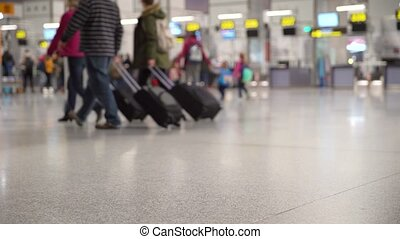 passengers with luggage in the airport lobby go to the plane