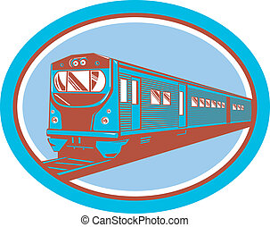 passengertrain, forside udsigt, retro