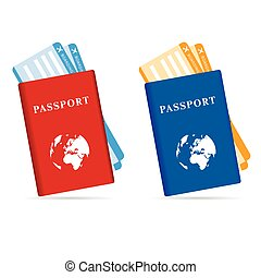 passeport and ticket vector illustration in two color