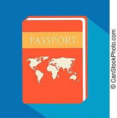 passeport, arrière-plan bleu, identification, document