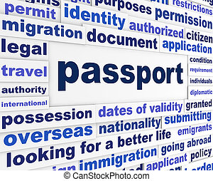 passeport, concept, légal, mots