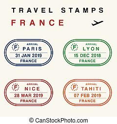 passeport, france, timbres