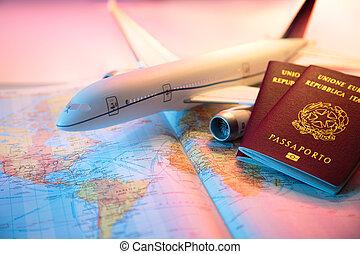 passeport, voyage, amérique, -