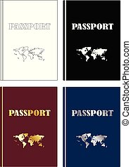 passeports, carte, ensemble, icône, mondiale
