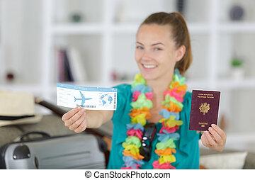 passeports, tenue, closeup, carte embarquement, girl