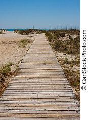 passerella, a, il, spiaggia