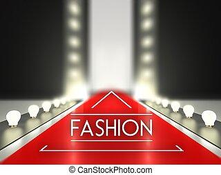 passerella, pista, moda, moquette rossa