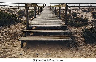 passerelle bois, plage