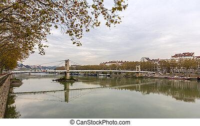 Passerelle du College, a footbridge in Lyon - France