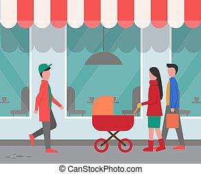 passers-by, restaurant, buitenkant, straat, stad