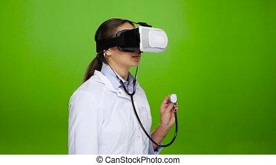 passes, aide, pratique, réalité virtuelle, infirmière, lunettes