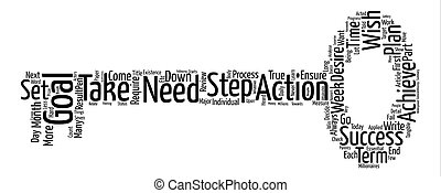 passi, a, achievable, mete, parola, nuvola, concetto, testo, fondo