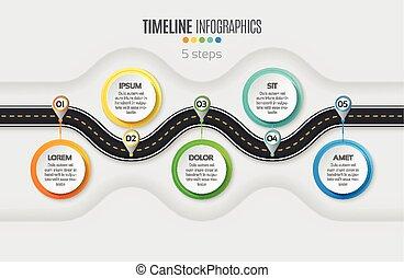 passi, concept., infographic, 5, navigazione, sinuosità, timeline, mappa, roa