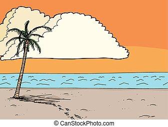 passi, in, sabbia, a, alba