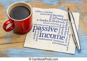 passief, servet, woord, wolk, inkomen