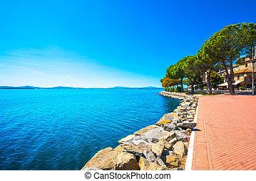 Passignano sul Trasimeno town on the Trasimeno lake, Umbria...