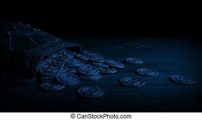Passing Bag Of Gold Coins In The Dark