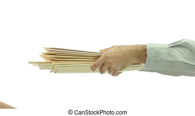 Passing Big Stack of File Folders - A anonymous man passes...