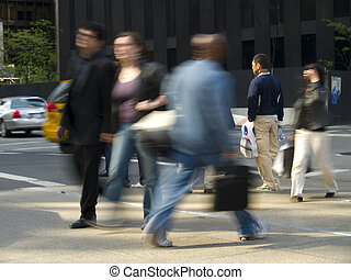 Passing By - A motion blur of walking by on a New York City...