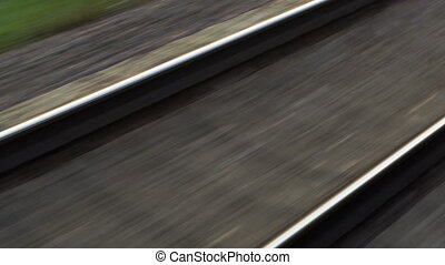Passing by empty railway on high speed