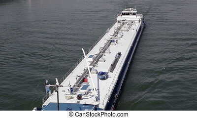 Passing cargo ship, River Rhine - view from above