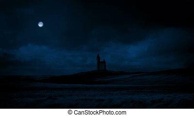 Passing Castle Under Full Moon At Night