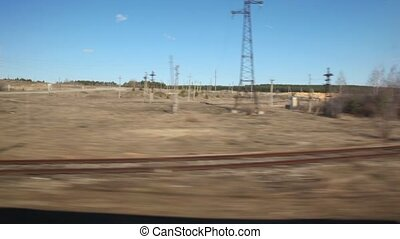 passing electric line and railway crossing