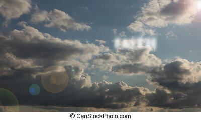 Passing Words of Faith, Hope, Love, Charity & Peace Text Accross Dramatic Time-lapse Clouds and Sky.