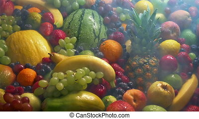 Passing Fruits Mixture In Chilled Vapor - Cold vapor moves...