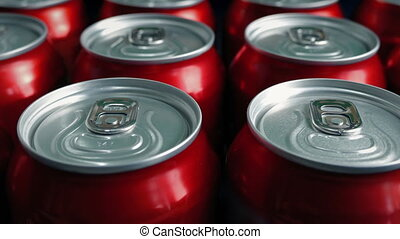 Passing Generic Canned Drinks - Many generic red cans moving...