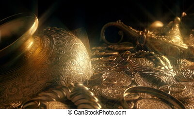 Passing Gold Treasure Pile Sparkling - Tracking shot of a...