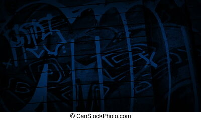 Passing Graffiti On Side Of Building At Night - Tracking...