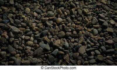 Passing Gravel Stones Closeup - Tracking shot moving slowly...
