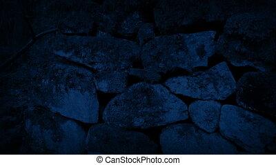 Passing Old Rock Wall At Night