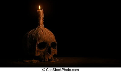 Passing Old Skull With Melted Candle