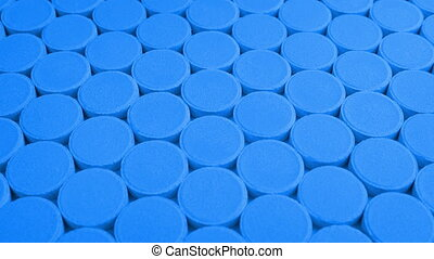 Passing Rows Of Blue Medical Pills - Moving over rows of...