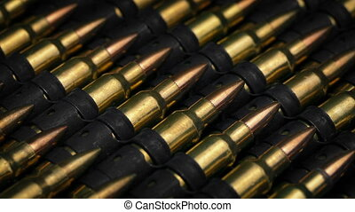 Passing Rows Of Gun Ammunition Closeup - Tracking shot...