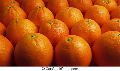 Passing Rows Of Oranges - Slowly moving above many oranges