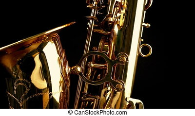 Passing Saxophone Side View Closeup - Tracking shot moving...